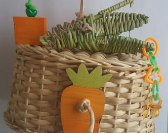 Toy carrot basket for parakeets and parrots