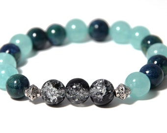 Aqua Beaded Bracelet, Teal Bracelet, Turquoise Bracelet, Bead Bracelet, Aqua Jewelry, Teal Jewelry, Anxiety Bracelet, Gemstone Bracelet