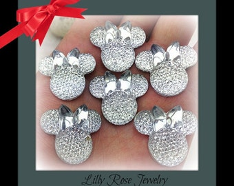 6 Silver Glitter Rhinestone Minnie Mouse Ears Inspired Bow Head Flat Back Resin Cabochon For Scrapbook Hair bows Jewelry Wedding 25x28mm