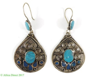Earrings Silver Turquoise Insets Afghanistan 113263