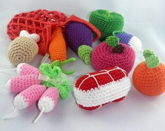 -tote bag - vegetable - fruit - cotton - Dinette crochet