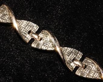 "1960s Two Tone Bracelet 7"" Vintage Retro Jewelry"