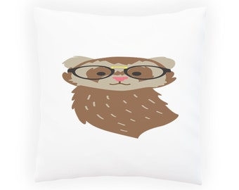 Hipster ferret Pillow Cushion Cover w130p