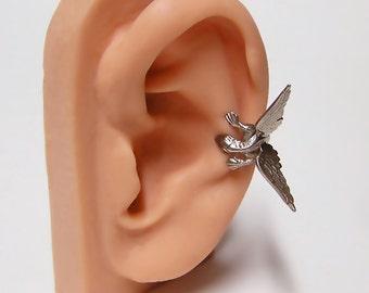 Silver Dragon Ear Cuff, dragon body wrap around ear (sw) .925