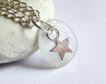 CLEARANCE - Sea Glass Pendant, Star Necklace, Sea Glass Jewelry, Starry Charm, Silver Plated, Seaglass Jewellery, Beach Star - PC17059