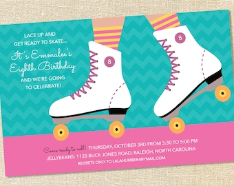 Sweet Wishes Chevron Roller Skating Party Invitations - PRINTED - Digital File Also Available