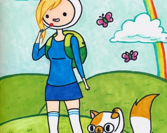Fionna and Cake, Adventure Time, Copic Marker 8.5in x 11.5in Print