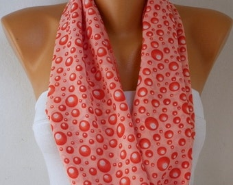 Red Bubble Infinity Scarf Christmas Gift Chiffon Circle Loop Scarf Gift Ideas For Her Women Fashion Accessories