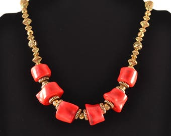 Red Bamboo Coral Statement Necklace