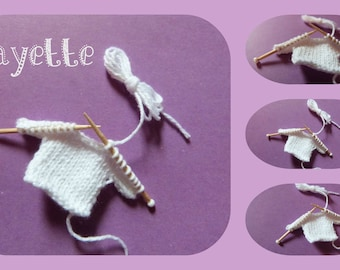 Layette: small knit sweater for scrapbooking-shaped, share, miniature decoration, baby shower