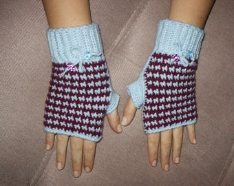fingerless gloves crochet sky and plum couture