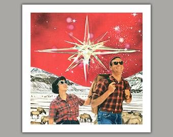 Brightest Star - Surreal Collage Art Print, wall art, retro, 8x8 print, 12x12 print