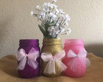 Glitter mason jars (set of 5); centerpices; birthdays