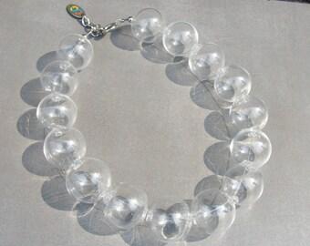 Glass bubble bead necklace-Glass necklace-Blown bead necklace-Murano neckace-collana bolle di vetro-available in 32 colors-