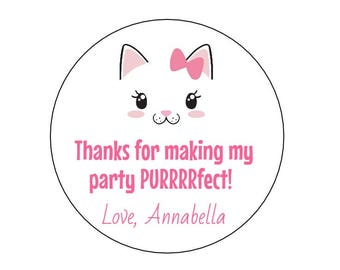 12 Cat Face Stickers, Kitty Party, Kitten Theme, Girl Cat, Cat with Bow, Cat Labels, Cat Birthday, First Birthday, Cat Lover, Cat Favors