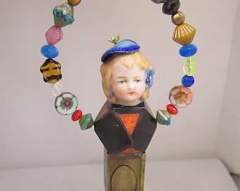 LOVE Assemblage Doll Mixed Media Ornament