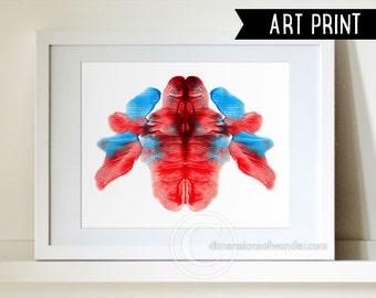 Rorschach PRINT, Rorschach ink blot, Rorschach art, psychology art, psychologist gift, psychology student, psychology poster, red, blue.