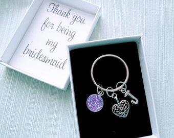Thank you for being my bridesmaid Keyring, heart keychain, initial keyring, heart charm, gift boxed keyring, wedding gift favour