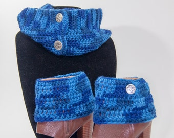 Blue Andy Cowl with Matching Boot Cuffs