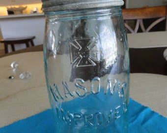 Mason's Improved Jar with Cross Logo hand blown green glass canning jar Antique