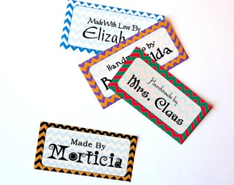 """Holiday Colors Chevron Fabric Labels Sew-on - Iron-on • 80 Labels  2 x 1"""" Uncut • Name Added • Colorfast 100% Preshrunk Cotton"""