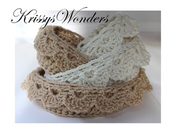 Crochet Basket Pattern - Nesting Bowls with Drop Over Lace Edge - 5 sizes Baby Shower Gift - No 91
