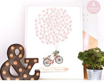 bike guest book, guestbook alternative idea, bicycle wedding guest book, thumb print balloon wedding book, purple  thumb print  guest book,