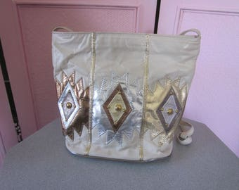 """1980s White Leather Tote with Embellishment by """"Samir"""""""