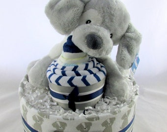 Boy diaper cake | Puppy diaper cake | Baby diaper cake | Baby shower gift | Unique baby gift | New mom gift | Baby shower decor
