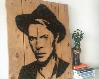David Bowie - Portrait - String Art  Reclaimed Pallet Wood Wall Art - Handmade