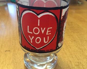 "Vintage ""I LoveYou"" Raggedy Ann Glass Bobbs-Merrill"