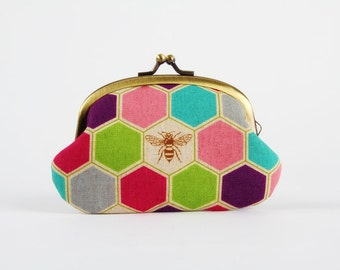 Metal frame coin purse - Bees in pink - Big smile / geometric hexagon / fuchsia purple turquoise lime green / insect / nature inspired