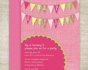 GIRL BANNER BIRTHDAY Party Invitation Digital Printable Cards Pink and Green Pendant - 81855995