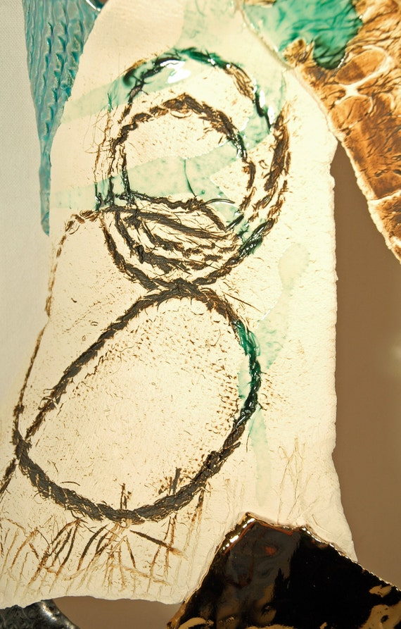 Ceramic wall-hanging sculpture clay female torso human form