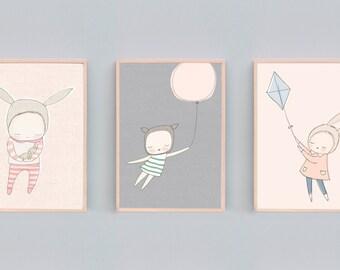 Whimsical Animal Nursery Art Prints, Set of 3 prints, Bear Nursery Decor, Rabbit Nursery Print, Deer Nursery Art, Peach, Grey, Mint - B