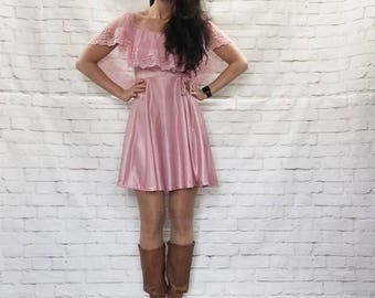 Vintage 70s Sheer Lace Cape Shawl Pink Mini Dress Ruffled Rosette Fit & Flare XS S