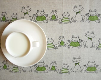"""Linen tablecloth natural grey funny green frogs Eco Friendly 37""""x37""""or order your size, table runner napkins pillow available,eco GIFT"""