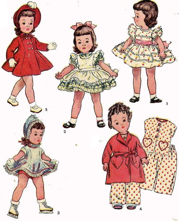 Vintage Doll Clothes PATTERN 3728 for 14 inch Toni Bonnie