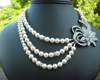 Mia, Bridal Necklace, Victorian Rhinestone and Pearl Necklace, Triple Strand Vintage Style Bridal Necklace, Wedding Jewelry