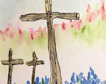 3 Crosses with Wildflowers 5x7 original watercolor with ink by Nan Henke