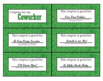 Co-Worker Coupon Book | Printable | Digital | Stocking Stuffer | Birthday | Secret Santa | Secret Pal | Encouragement