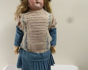 Simon and Halbig Doll in vintage dress, numbered 1078