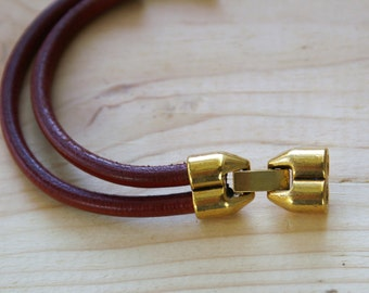 Antique Gold ROUND 5mm DUO Latch Snap Leather Clasp for 5mm leather or 2mm leather / 1 set Leather Closure