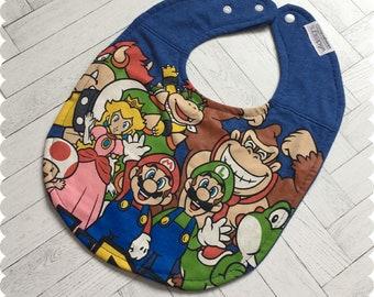 Mario Baby Bibs, Super Mario Recycled T-Shirt Baby Bib, Video Games, Baby Boy Gift Baby Shower, Mario and Luigi, Nerd Baby, Geek Baby