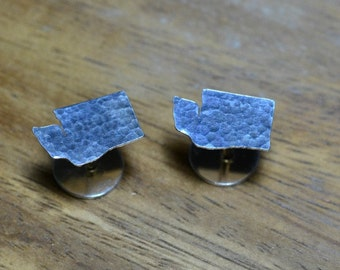 Washington Cuff Links. Sterling Silver Personalized Washington State Gold Cufflinks For Groom. Custom Wedding Cuff Links For Men With Style.