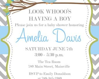 Owl Baby Shower Invitation Printable