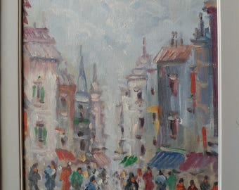 Original Oil on Canvas Impressionist Rainy Street Scene by Rodini