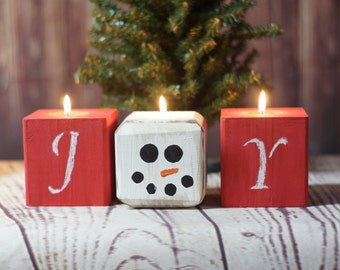 Joy Snowman Chalkboard Candles, Christmas Candles, Rustic Christmas Decor, Primitive Christmas Decorations, Christmas Table,Christmas Mantle