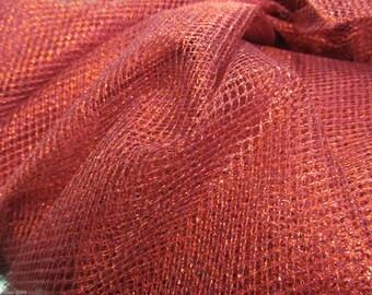 Red Metallic Tulle Netting Dress Fabric 150cm Wide