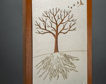 Tree of life / dreaming tree wall hanging in stainless and copper on Sapele